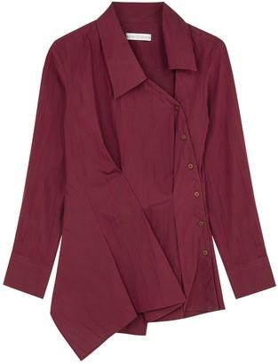 Palmer Harding Palmer//harding Enata Burgundy Stretch-cotton Shirt