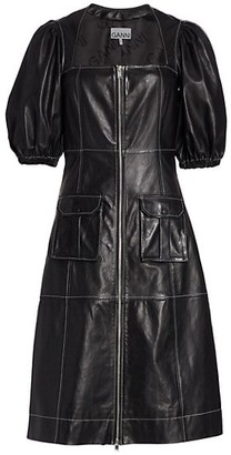 Ganni Puff-Sleeve Panelled Leather Dress