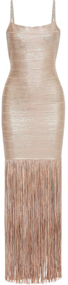 Herve Leger Fringed Metallic Coated Bandage Gown