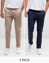 Asos 2 Pack Slim Chinos In Navy And Stone