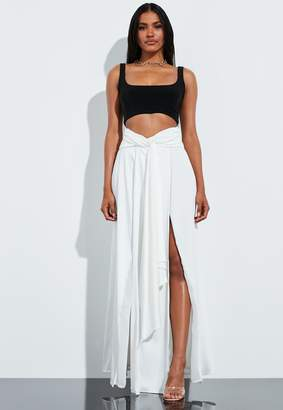 Missguided Cream Satin Split Leg High Waist Maxi Skirt