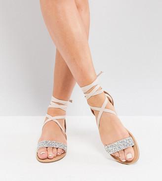 Asos Design DESIGN Wide Fit Fi embellished flat sandals-Beige