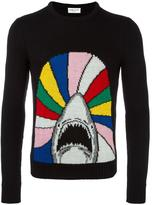 Saint Laurent shark intarsia knit jumper - men - Wool - S