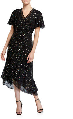 Diane von Furstenberg Berdina Metallic Flounce Wrap Dress