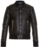 Balmain Diamond-quilted Leather Bomber Jacket