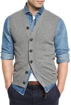 Brunello Cucinelli Cashmere Cardigan Vest, Dark Gray
