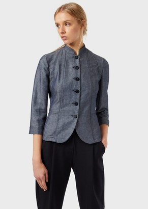 Emporio Armani Jacket In Denim-Effect Linen Blend Fabric