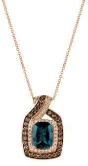LeVian Le Vian 14K Strawberry Gold? Deep Sea Blue TopazTM, Chocolate Diamonds? & Vanilla Diamonds? Crossover Cushion Pendant Necklace
