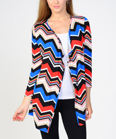 Bellino Royal & Orange Chevron Open Cardigan