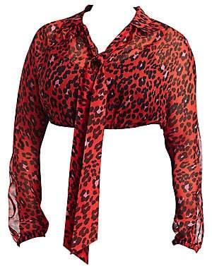 Fausto Puglisi Marina Rinaldi, Plus Size Marina Rinaldi, Plus Size Women's X Marina Rinaldi Animal Print Silk Chiffon Blouse