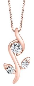 Sirena 1/0 ct. t.w.Diamond Rose Pendant in 14k White, Yellow or Rose Gold