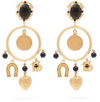 Dolce & Gabbana Charm-embellished Hoop Clip Earrings - Gold
