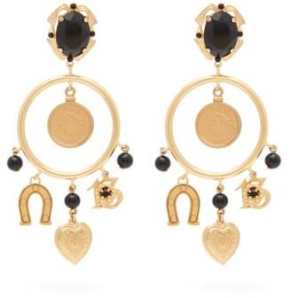 Dolce & Gabbana Charm-embellished Hoop Clip Earrings - Womens - Gold