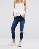 Hollister High Waisted Crop Jeans With Raw-Cut Hem