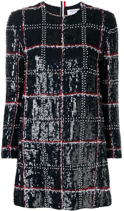 Thom Browne Sequinned-Embroidered Checked Mini Dress