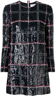 Thom Browne Silk Embroidered Mini Shift Dress