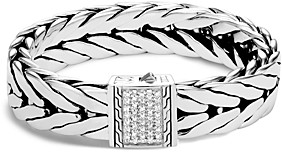 John Hardy Sterling Silver Modern Chain Pave Diamond Wide Flat Bracelet