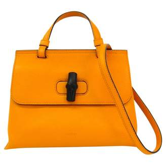 Gucci Bamboo Orange Leather Handbags