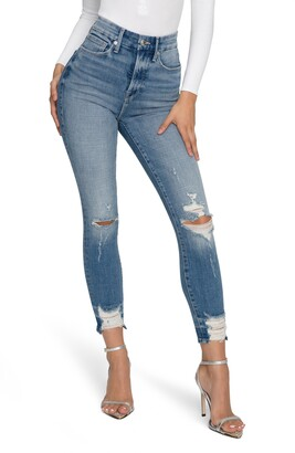 Good American Ripped Good Waist Chew Hem Ankle Skinny Jeans