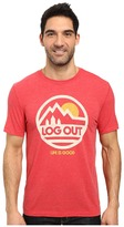 Life is Good Log Out Circle Mountain Cool Tee