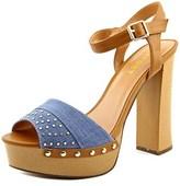 Report Meeshka Women Open Toe Canvas Blue Platform Sandal.