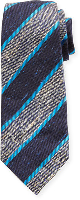Kiton Wide Diagonal Stripe Silk Tie, Blue