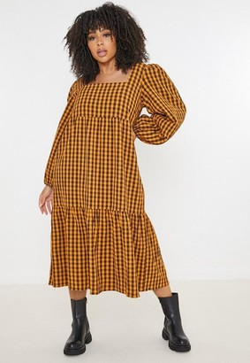 Missguided Plus Size Rust Gingham Smock Dress