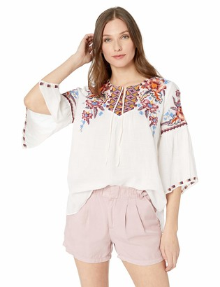 3J Workshop by Johnny was Women's Ruffle Boho Blouse with Embroidery