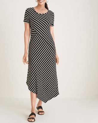 Chico's Splice Striped Asymmetrical-Hem Maxi Dress