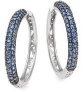 Effy Sapphire & 14K White Gold Hoop Earrings