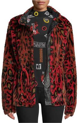 Nicole Miller Leopard-Print Faux-Fur Utility Jacket