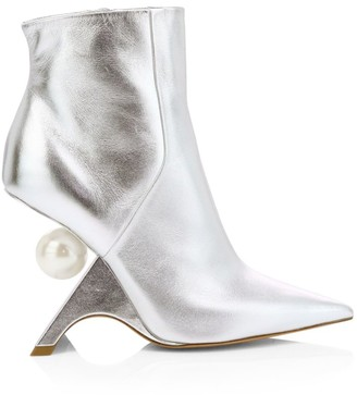 Nicholas Kirkwood Jazzelle Faux Pearl Metallic Leather Ankle Boots