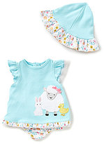 Starting Out Baby Girls Newborn-9 Months Floral Top, Ruffle Diaper Cover, & Hat Set