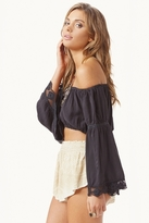 Blue Life Lace Trim Top in Soft Black
