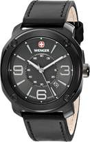 """Wenger Men's 01.1051.108 """"Escort"""" Stainless Steel Watch with Black Leather Band"""