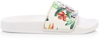 Giuseppe Zanotti Floral Leather Pool Slides