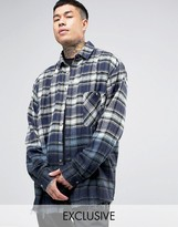 Reclaimed Vintage Inspired Oversized Checked Flannel Shirt In Dip Dye