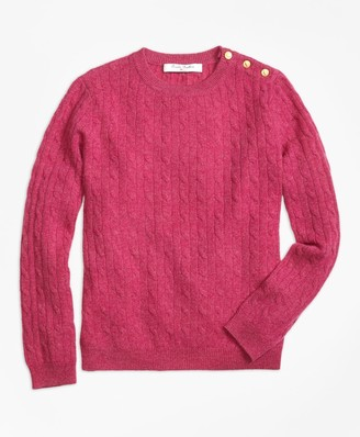 Brooks Brothers Girls Cashmere Cable Crewneck Sweater