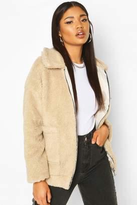 boohoo Faux Fur Teddy Trucker Jacket
