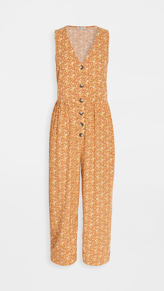 Madewell Tank Button Front Challis Jumpsuit