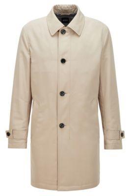 HUGO BOSS Regular-fit overcoat in recycled memory fabric