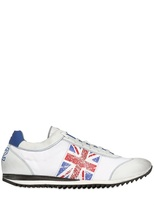 Ciaboo Leather & Canvas England Flag Sneakers
