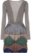 Missoni Fringed Metallic Knitted Mini Dress - Silver