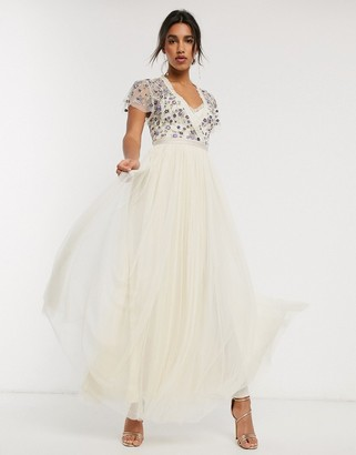 Needle & Thread embellished maxi dress with tulle skirt in cream