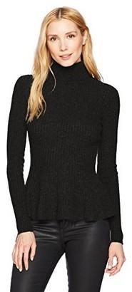 Minnie Rose Women's 100% Cashmere Ribbed Peplum Sweater