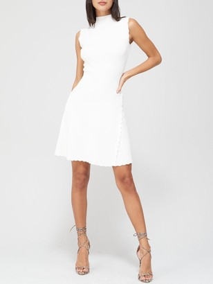 Very Compact Knit Skater Dress - White