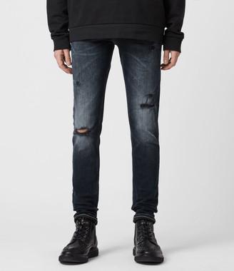 AllSaints Cigarette Damaged Skinny Jeans, Dark Indigo