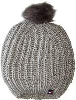 Tommy Hilfiger Women's One Size Chunky Beaded Beanie with Faux Fur Pom