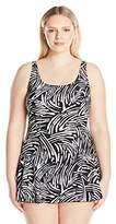 Maxine Of Hollywood Women's Plus Size Tidal Wave Princess Seam Swim Dress One Piece Swimsuit