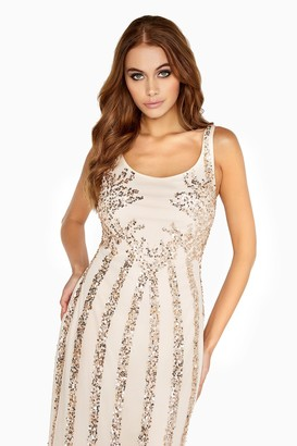 Little Mistress Nude Sequin Maxi Dress
